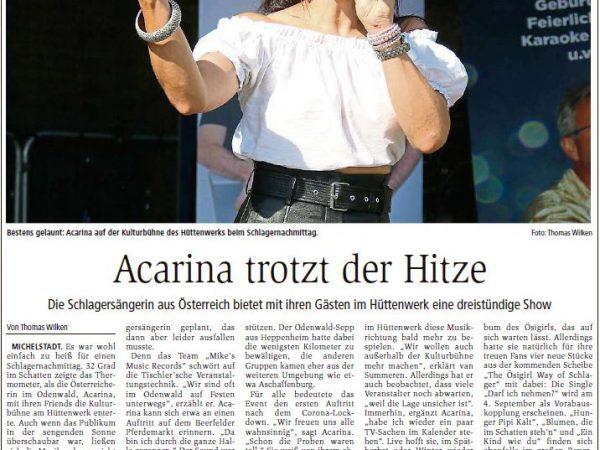 Acarina_Echo Online_Artikel Kulturbühne Odenwald